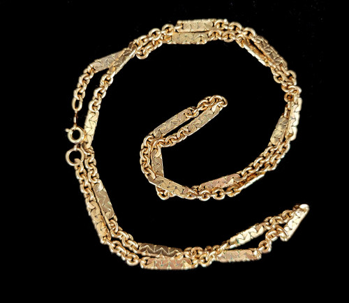 """Vintage 12k GF Gold Filled Figaro Type Unique Long Chain Necklace 24"""""""
