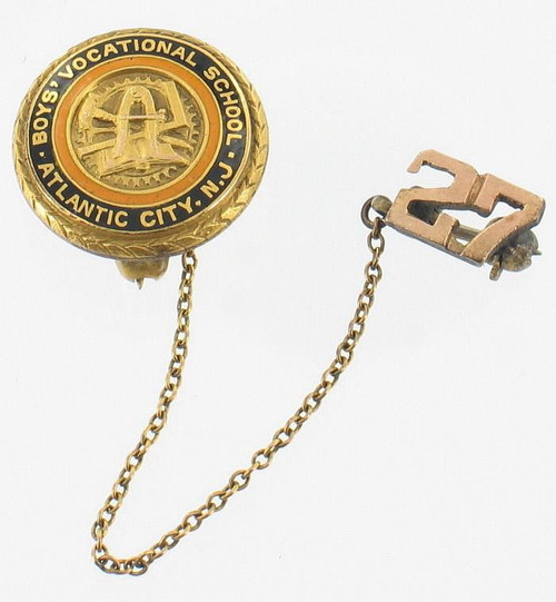 ANTIQUE 1927 GOLD FILLED GF  BOYS ATLANTIC CITY VOCATIONAL SCHOOL PIN