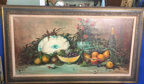 Vintage French 1950s Fruit Still Life Oil Painting L Murino Paris France Impressionism