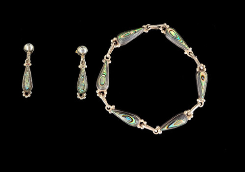 Vintage Sterling Silver Taxco Mexico Abalone Shell Link Bracelet Earring Set