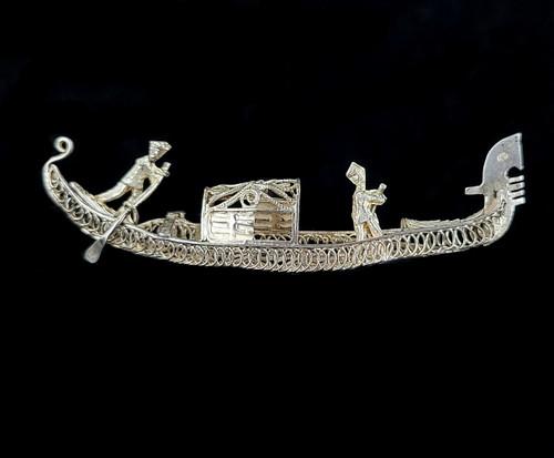 """Antique Sterling Silver Venice Italy Gondola Boat Filigree Brooch Pin 2.5"""""""