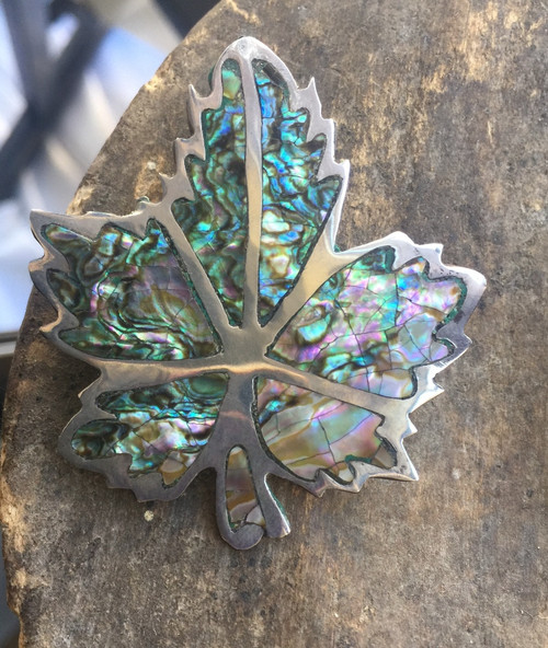 Vintage Mexico JPM Sterling Silver Inlay Abalone Maple Leaf Pendant Brooch Pin