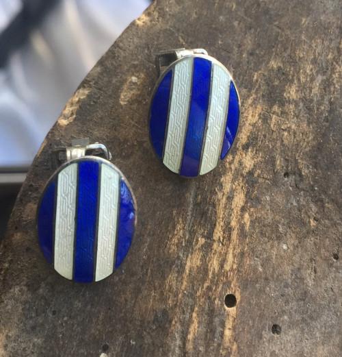 Antique Art Deco Sterling Silver Oval Blue White Guilloche Enamel Clip Earrings