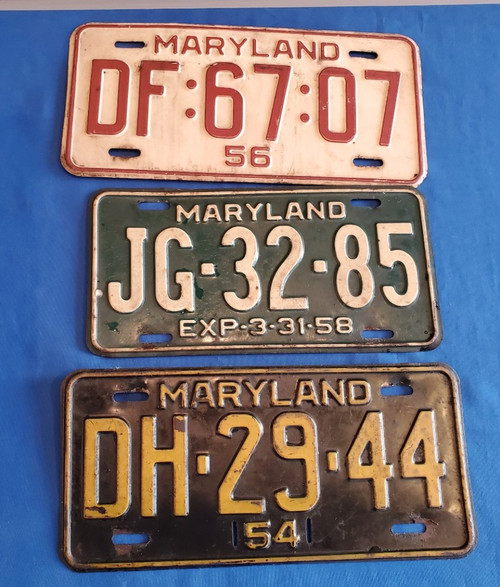 Vintage Lot of Three (3) 1954 1956 1957 1958 Maryland License Plate Collectibles