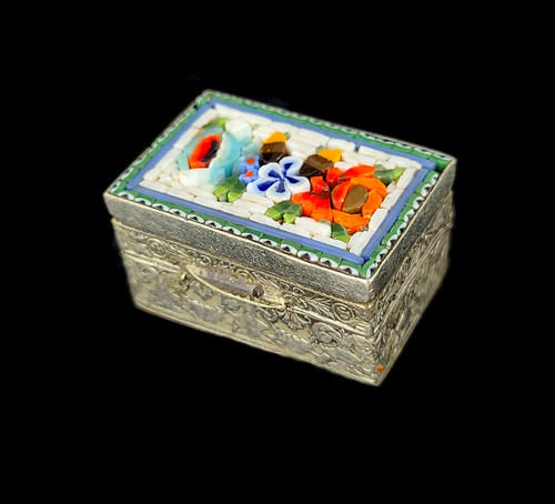 Antique Micro Mosaic Silver Tone Small Floral Decorative Trinket Box Pill Box 1""
