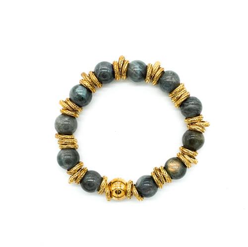 """Vintage Gold Sterling Silver Grey Labradorite Gold Ring Bead Bracelet 8.5"""""""