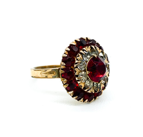 Vintage German Art Deco 14k Gold Filled Ruby & Diamond Rhinestone Ring Size 4.5