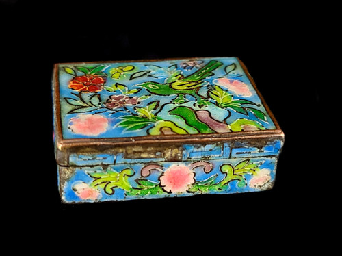 Antique Cloisonne Handmade Enamel Floral Bird Design Trinket Pill Box 1.25""