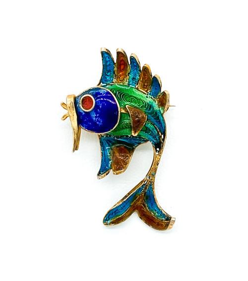 Antique Italian 800 Silver Plique A Jour Enameled Filigree Fish Pin Brooch