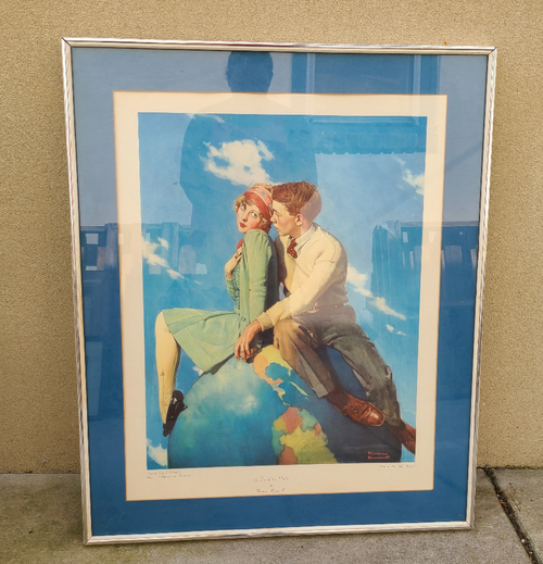 "Vintage Deco Collotype Print "" On Top of The World"" Norman Rockwell Best Quality"