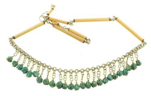 "Vintage Deco Silver 1920's Egyptian Revival Fringe Turquoise Bib Necklace  19"""