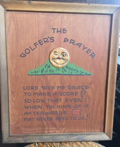 Vintage Golfer's Prayer Wooden Sign - 1950 Mid-Century Golf Decor - Al Geiberger