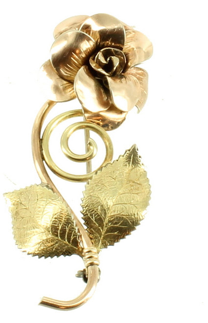 "Vintage GF Gold Filled Diana Krementz Rose Gold Single Rose Pin Leaves 2.25"""