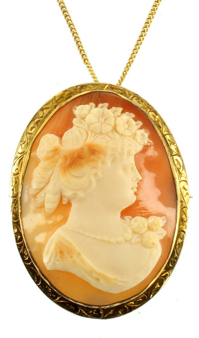 Antique Edwardian 12 KT GF Gold filled Big Victorian Shell Cameo Pendant Pin 2""