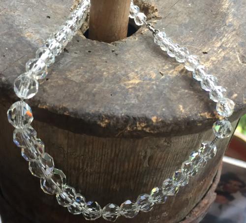 "Antique Deco Real Rock Quartz Sterling Chain Small Neck Grad Bead Necklace 14"""