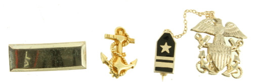 Vintage WWII Militaria Naval Sterling 3 Medals Pins Anchors Interesting