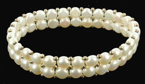 """Vintage Honora Sterling Beads & White Pearls Woven 2 Row Bracelet Stretched 6.5"""""""