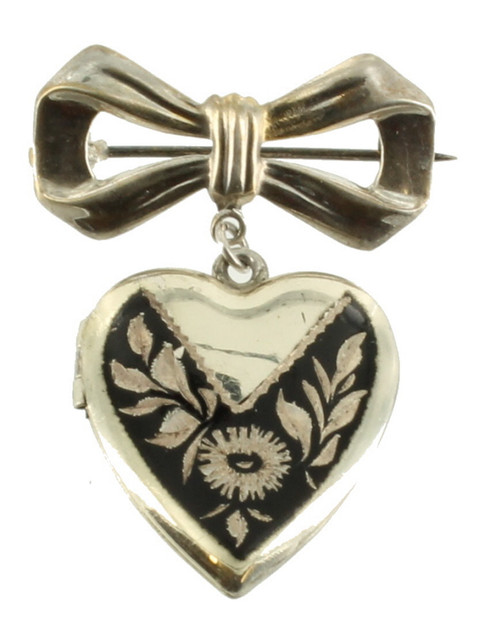 Antique Deco Sterling Heart NielloWare Locket Ribbon Dangle Engraved Pin 1 1/2""
