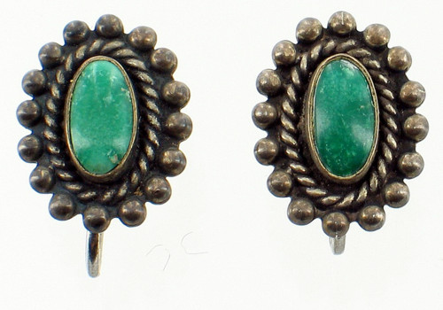 """Old Pawn Navajo Sterling  Green Turquoise Rope Cab Scrw Back Earrings Pretty .5"""""""
