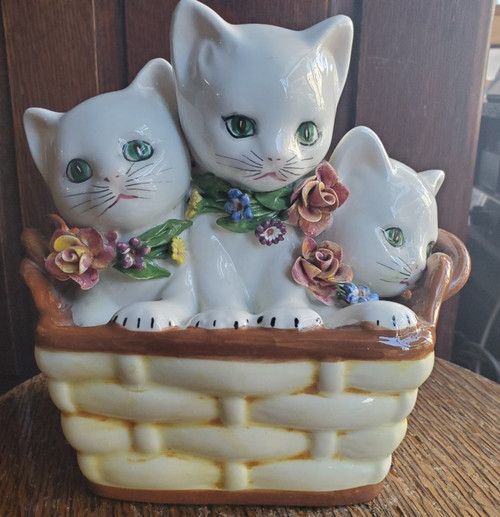 Vintage 1950s Kittens in Basket Flower Collars Piggy Bank Made in Italy Cats