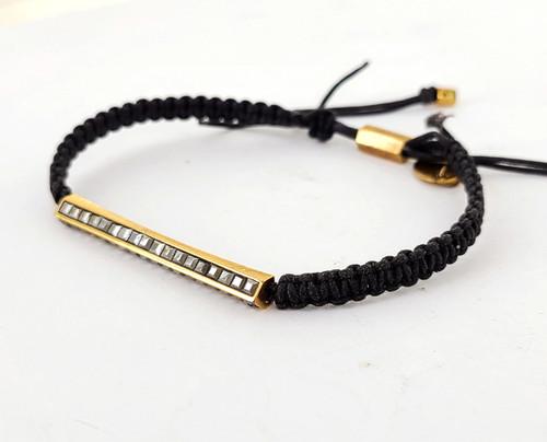 Vintage Henri Bendel Marcasite Rose Gold Tone Black Crochet Adjustable Bracelet
