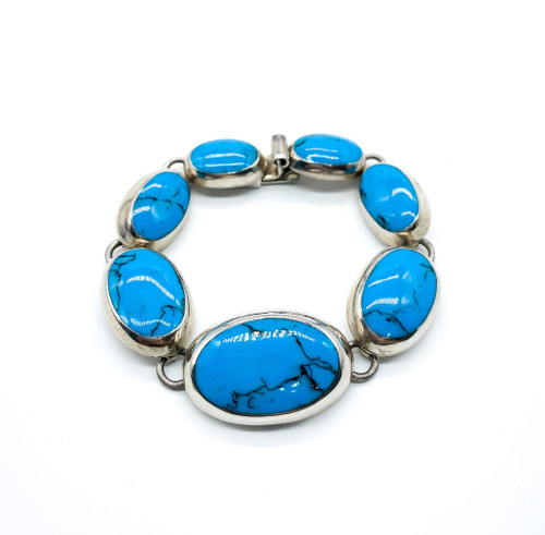 Vintage Mid Century Taxco Sterling Silver Turquoise Modernist Bracelet 7.25""