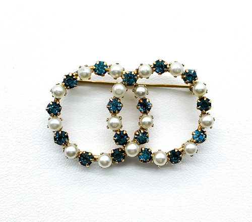 Vintage Mid Century Gold Fill Blue Paste Rhinestone Faux Pearl Circle Pin Brooch