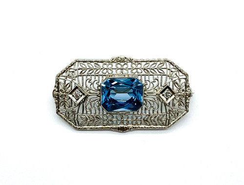 Antique Edwardian 14k White Gold Blue Topaz White Sapphire Filigree Pin Brooch