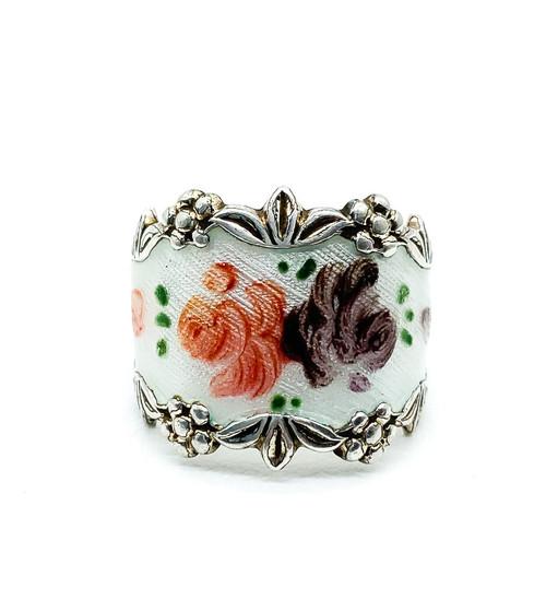 Vintage Sterling Silver Guilloche Enamel Floral Roses Vargs Ring Size 7.75