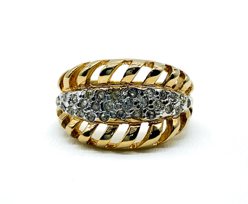 Vintage Mid Century Retro 14k Gold Plated Diamond Rhinestone Band Ring Size 4.75