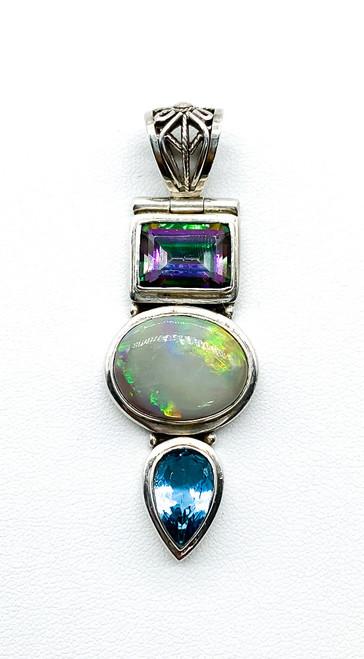Vintage Artisan Sterling Silver Mystic Topaz White Fire Opal Blue Topaz Pendant