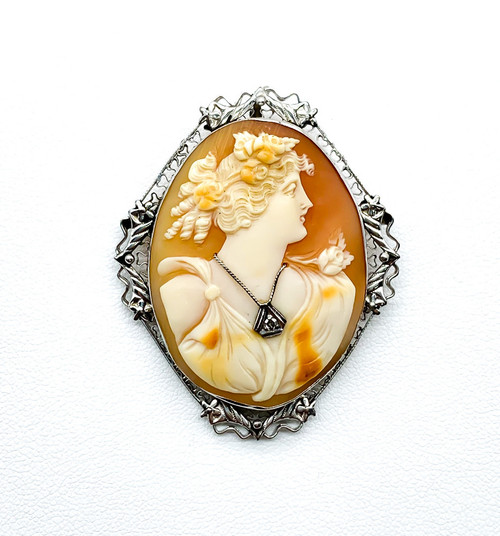 Antique Edwardian 14k White Gold Greek Maiden Conch Cameo Habille Brooch Pendant