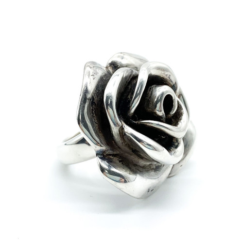 Vintage Sterling Silver Puffy Rose Flower Big Statement Ring Size 6.25