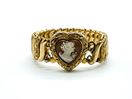 Vintage 12k Gold Filled WW2 Era Victorian Revival Heart Cameo Stretch Bracelet
