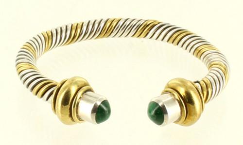"Vintage Sterling 2 Tone Silver & Gold Tone Heavy Twist Malachite Cuff Bracelet 6.5"""