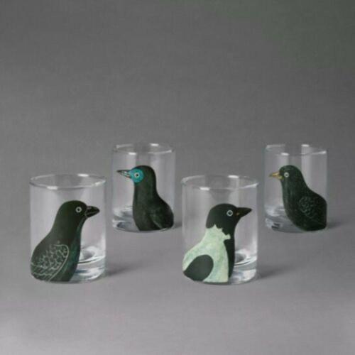 John Derian Threshold 4 Pack Bird  Midnight Dreary Glasses Halloween Sold Out