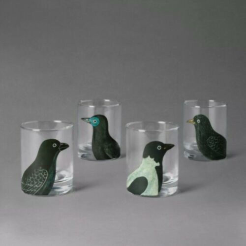 John Derian Threshold 4 Pack Bird  Midnight Dreary Glasses Halloween Sold Out