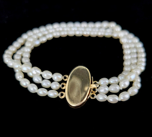 Vintage 14k GF Gold Filled 70's 3 Strand Pearl Wedding Bracelet 7.5""