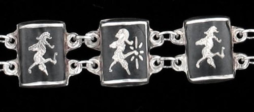 VINTAGE NIELLO NIELLOWARE Siam1940's SIAM STERLING SILVER LINK BRACELET  7""
