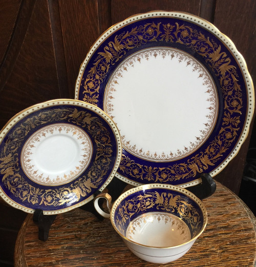 Rare Old Aynsley Seville Colbalt Blue Gold Dragon Phoenix 3 pc Teacup Set Plate -Raised Gold- Gorgeous
