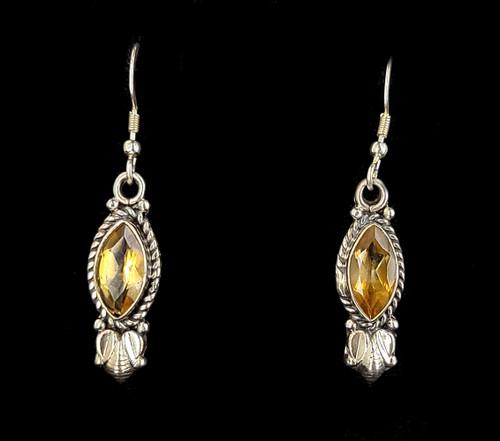 """Vintage Sterling Marquise Orange Citrine Drop Dangle Earrings 2"""""""