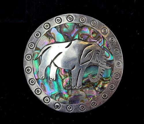 Vintage Silver Abalone Happy Elephant Iguala JPM Mexico  Alpaca Pin Pendant