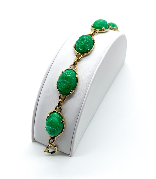 "Vintage Mid Century Molded Jade Glass Scarab Egyptian Revival Bracelet 7.75"""
