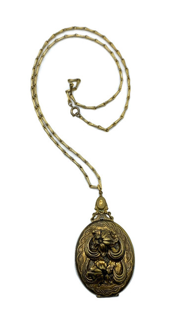 "Antique Art Deco Gold Filled Aesthetic Big Floral Locket Necklace 24"""