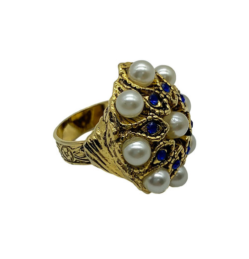 Vintage Mid Century Baroque Faux Pearl Sapphire Paste Gold Tone Ring Size  6.5