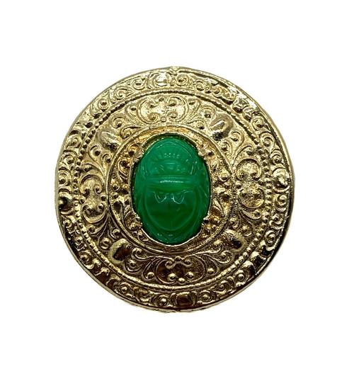 Vintage Mid Century Jade Glass Scarab Egyptian Revival Medallion Pin Brooch