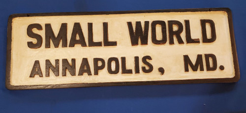 "Vintage 1950s Annapolis Maryland Boat Sign ""Small World"" Nautical Patio Decor"