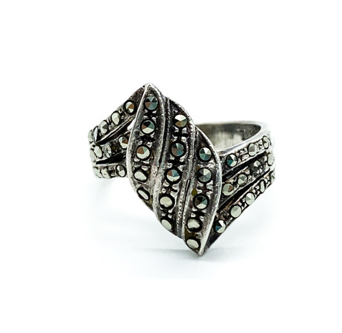 Antique Art Deco Sterling Silver Pave Marcasite Ring Size 5.5