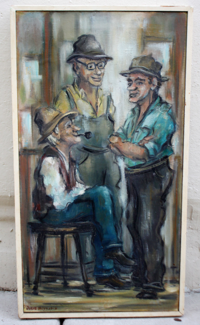 Vintage Julie Hopkins Oil Painting Abstract Realism 1960's 3 Men Talking New England