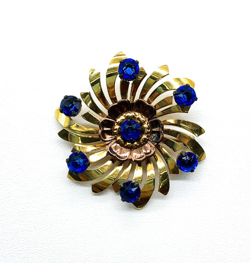 Vintage Mid Century 12k Gold Filled Sapphire Rhinestone Abstract Flower Brooch